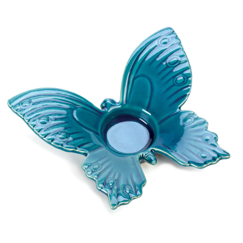 *15506B  Blue Butterfly Stoneware Tea Light Candle Holder