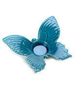 *15506B  Blue Butterfly Stoneware Tea Light Candle Holder - $185,68 MXN