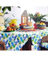 "Fiesta Spring Flower Lapis Blue Green Purple Tablecloth 70"" Round - $38.00"