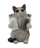 Playful Calico Kitty Cat Glass Salt and Pepper ... - £12.56 GBP