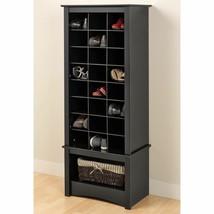 Black Finish Tall Shoe Cabinet Wooden Storage Cubbie Entryway Organizer Rack - $197.99