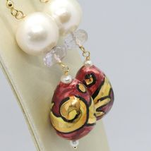 18K YELLOW GOLD EARRINGS AMETHYST PEARL & CERAMIC BIG DROP HAND PAINTED IN ITALY image 3