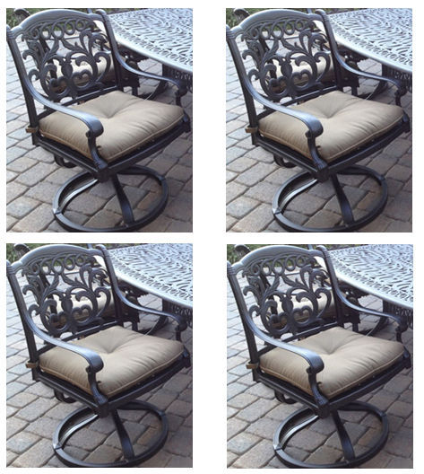 Outdoor Swivel Rocking Chairs Set of 4 Cast Aluminum Flamingo Patio Seats Bronze