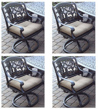 Outdoor Swivel Rocking Chairs Set of 4 Cast Aluminum Flamingo Patio Seats Bronze image 1