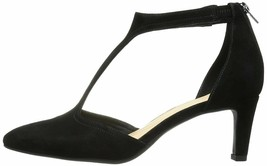 Clarks Calla Lily Black Suede Women's T Strap Pointy Toe Pumps 32133 - $85.99