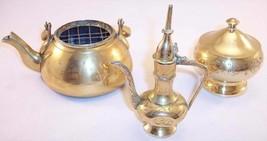 Vintage Lot of 3 Small Brass Decor Items, Teapot/Kettle, Urn/Ewer, Trink... - $13.99