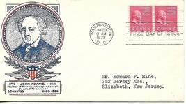 First Day Cover - Scott#841 2c John Adams WSE/Clifford Cachet - $3.47