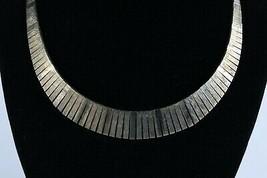 Vintage .925 Sterling Silver Flat Gold Tone Bar Snake Link Graduating Ne... - $40.30