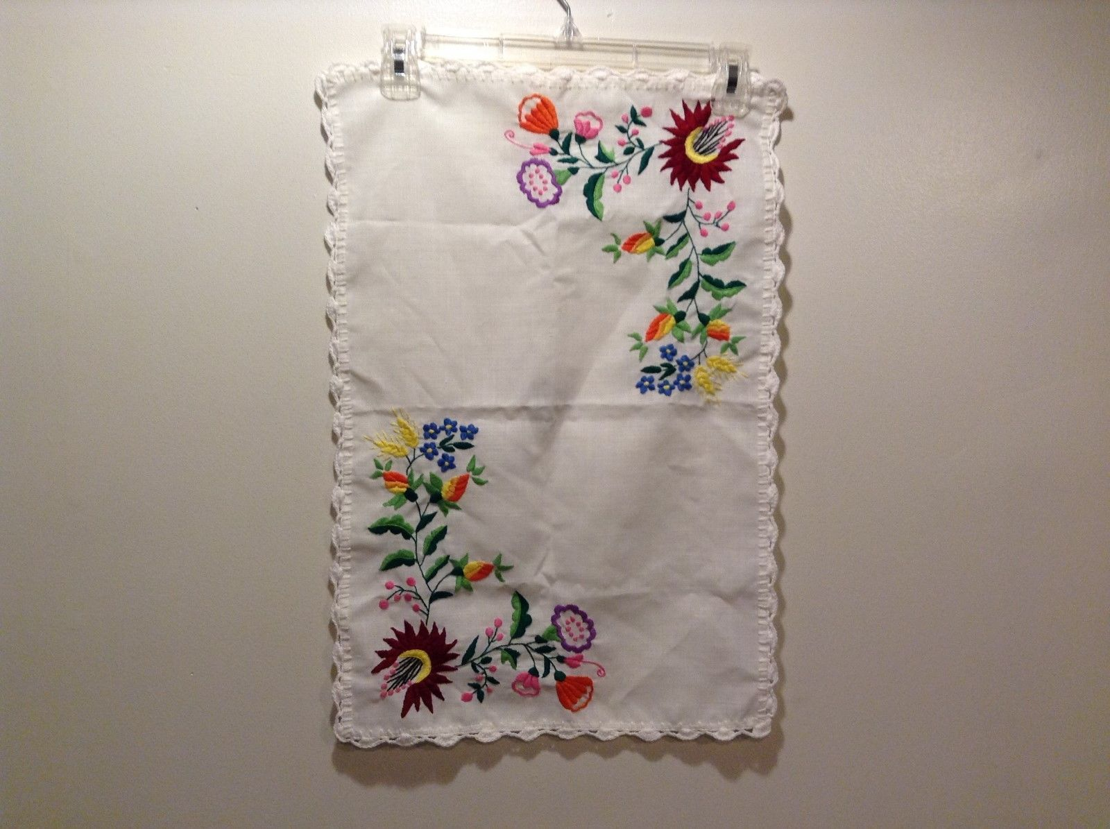 Super Cute Knit Embroidered Multicolored Floral White Table Cover/Cloth