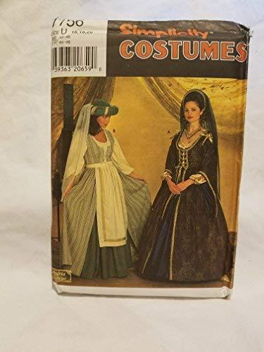 Primary image for Simplicity 7756 sewing pattern makes Womens Renaissance Costumes in sizes 16-18-