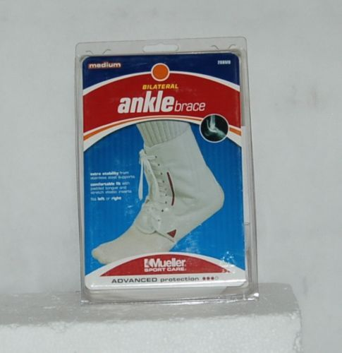 Mueller Sport Care 208MD Medium Bilateral Ankle Brace White Laces Left Right