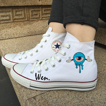 Converse White Canvas Shoes Design Eye Balls Monster Sport Sneakers High... - $119.00