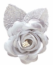 12 silk roses wedding favor flower corsage silver - $7.72