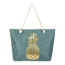 Gold Pineapple printed tote bag  - $45.95