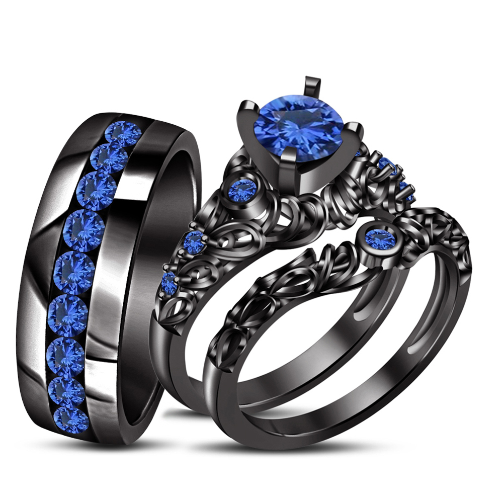 Blue sapphire his her wedding band ring trio set black for Sapphire wedding ring sets