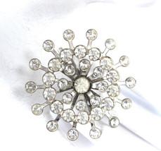 Rhinestone Snowflake Crystal Sunburst Brooch Pin Starburst 1940s Wedding... - $28.00