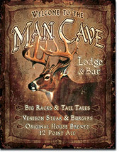 Man Cave Lodge Bar Buck Deer Metal Sign Tin New Vintage Style USA #1868 - $10.29