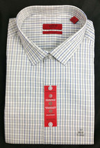 $52 Alfani RED Fitted Light Grey Check Performance Dress Shirt Size 17.5... - $16.82