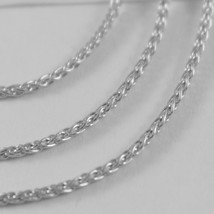 SOLID 18K WHITE GOLD SPIGA WHEAT EAR CHAIN 16 INCHES, 1.5 MM, MADE IN ITALY  image 2