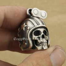 LINSION 925 Sterling Silver Motorcycle Helmet Skull Mens Punk Pendant Necklace image 7