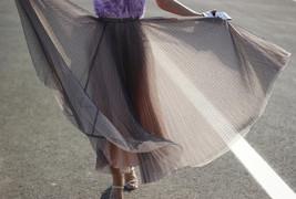 Black Polka Dot Tulle Skirt Black Pleated Tulle Midi Skirt image 8