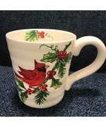 Maxcera Cardinal Pinecones Holly Christmas Coffee Mugs Set 4 ~NEW ~ - $49.99