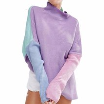 Winter Loose Patchwork High Neck Women Pullover Sweater - $32.76