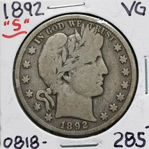 1892S Silver Barber Half Dollar 50¢ Coin Lot# A 611