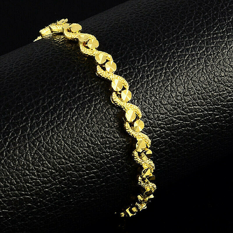 Primary image for Spiral Twist Chain Bracelet 24k Gold NEW