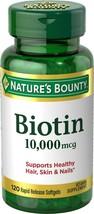 Nature's Bounty Biotin Softgels For Healthy Hair, Skin & Nail,10,000 mcg, 120 Ct - $16.97