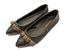 Donald Pliner Bettia Brown Suede Pointed Toe Buckle Snake Skin Flats - S... - $15.83
