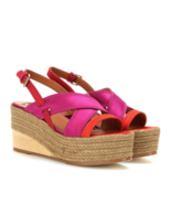 New AUTH Lanvin Satin Espadrille Wedge Sandal Rogue/Pink EU 40 $675 - $127.49