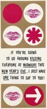Vintage New Year Card Kissing at Midnight 1960s Humor Hallmark Salesman ... - $6.92