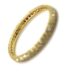 18K YELLOW GOLD ETERNITY BAND RING, DOUBLE CUBIC ZIRCONIA ROW, THICKNESS 2.5 MM image 2