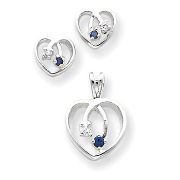 Primary image for Lex & Lu Sterling Silver Blue & Clear CZ Heart Earrings & Pendant Set