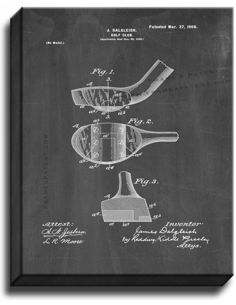 Primary image for Golf Club Patent Print Chalkboard on Canvas