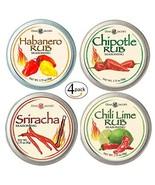 4 Tins with Hot Rub Flavors Gift Set: Habanero - Chipotle - Sriracha - C... - $35.70