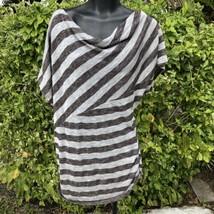 Just Kate Women's Sz M Top Brown Striped Shirt Off Shoulder Short Sleeve... - $8.17