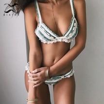 Bikinx Triangle ruffled bikinis 2019 mujer biquinis Splice lace female swimsuit - $40.78