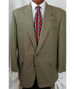 Hickey Freeman USA 51% Silk 49% Wool Brown Beige Regent Jacket 46 Long - $52.57