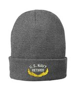 Trendy Apparel Shop US Navy Retired Embroidered Winter Folded Long Beani... - $14.99
