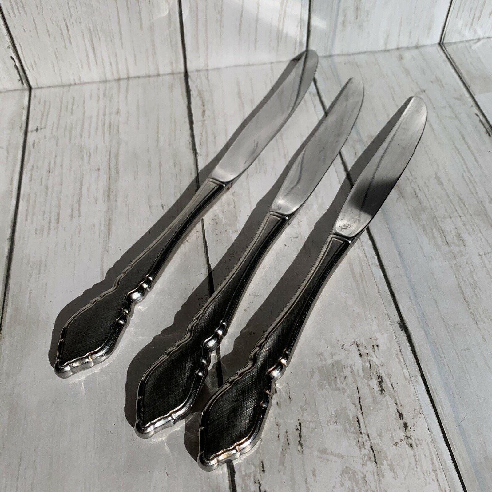 3 Butter Knives Hollow  Oneida CLASSIC MOOD DEAUVILLE PRESCOTT Stainless OCO - $12.86