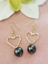 Black Heart Pearl earrings - $22.00
