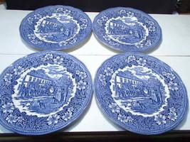 "4 Royal Tudor Ware England COACHING TAVERNS BLUE TRANSFER 10.5"" Dinner P... - $45.95"