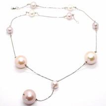 Collar Lazo Blanco Oro 18K con Colgante,Perlas Grandes,Blancas y Violeta... - $1,016.76