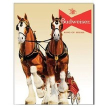 Budweiser Bud Beer Clydesdale Team Vintage Retro Style Decor Metal Tin S... - $15.99