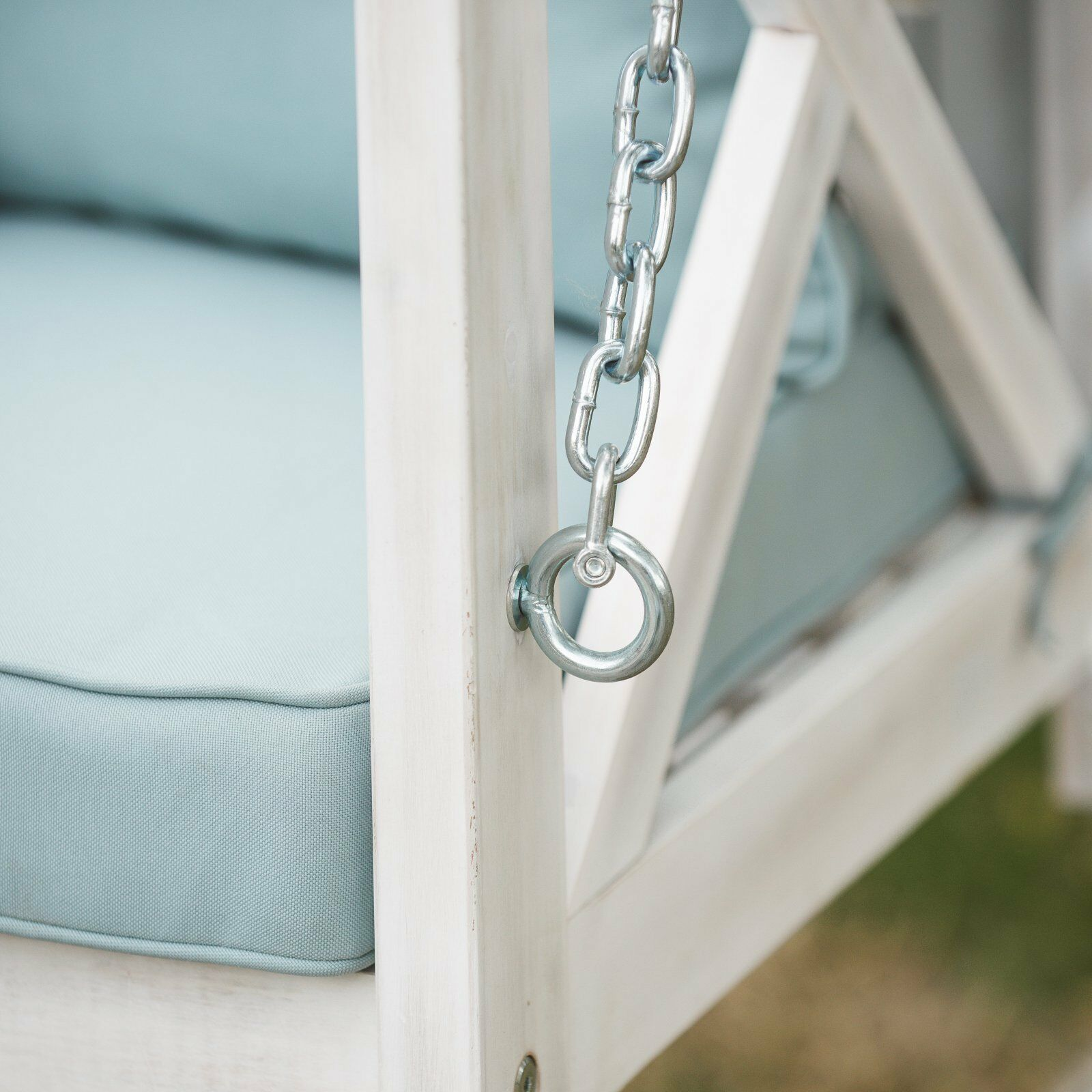 Country Farmhouse Shabby Chic White Wood Porch Swing Cushioned Outdoor Patio  image 3