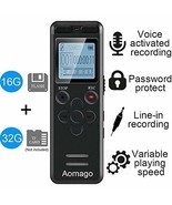 16GB Digital Voice Activated Recorder for Lectures - Aomago 1160 Hours S... - $38.48