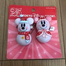 TDR 25th 2008 Christmas Mickey & Minnie Snow snow snowman lighting badge... - $42.57