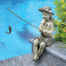 GIRL CHILD FISH STATUE Outdoor Garden Desk Pond Pool Lake Cabin Sculptur... - $54.99